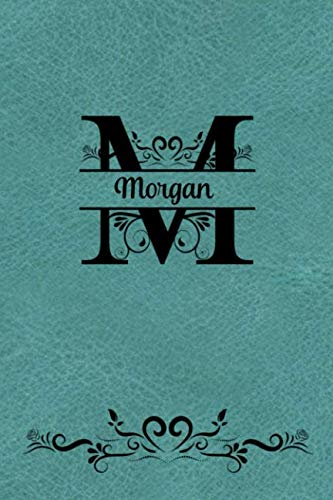 Split Letter Personalized Journal - Morgan: Elegant Flourish Capital Letter on Light Teal Leather Look Background