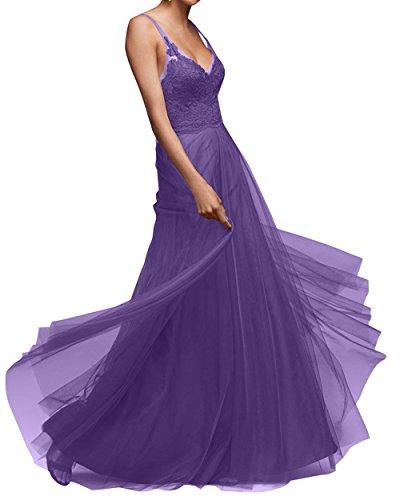 Violett Brau Tuell Spitze Dunkel Partykleider Ausschnitt mia Linie La Ballkleider V Lang Abendkleider Brautjungfernkleider A Damen H5qxZWpEw