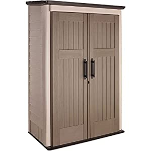 Rubbermaid Plastic Large Vertical Outdoor Storage Shed, 52-cu. ft, Beige (1887157)
