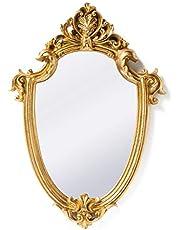 Funerom Vintage Decorative Wall Mirror Gold Shield Shape
