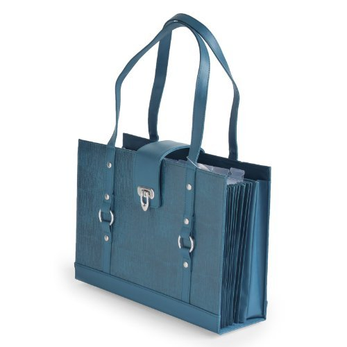 Texture Faux Leather File Organizer Tote -Teal color Photo #2