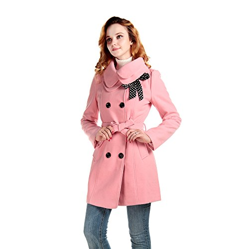 Lanhuacao Women Wool Blends Coat Slim Trench Winter Coat Long Jacket Outwear Pink M (Pink Coat)