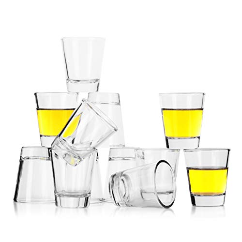 REATR 1.5 oz Shot Glass Set of 12 Food Safe Grade Tequila Shot Glasses with Cleaning Cloth Drinking Glassware Clear Shot Glasses Thick for Vodka, Rum, Liqueur, Spirit, Alcohol Small Shooter Glass Cup]()
