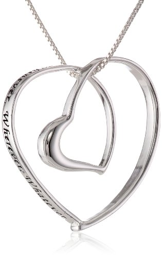 "Sterling Silver ""Whenever, Wherever, Whatever. As Long As You Are My Whoever"" Double Heart Necklace, 18"""