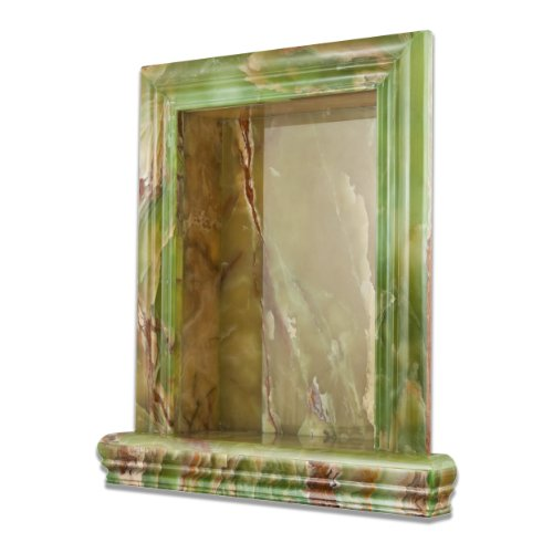 Green Onyx Polished Hand-Made Custom Shampoo Niche - LARGE by Oracle Tile & Stone