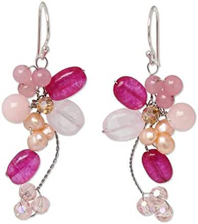 NOVICA Dyed Freshwater Cultured Pearl Cluster Dangle Earrings with Rose Quartz, 'Radiant Bouquet'