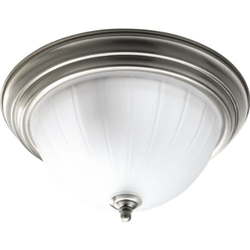 Progress Lighting P3817-09 2-Light Close-To-Ceiling with Etched Ribbed Glass, Brushed Nickel