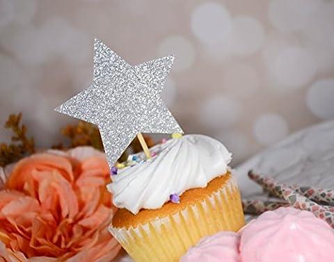 DOOXOO Silver Glitter Stars Cake Topper - Twinkle Twinkle Little Star, Birthday, Baby Shower, Wedding Cake Decoration, Star Cake Topper Set of - Decorative Toothpicks