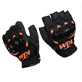 Sarvoday Enfield Works KTM Bike Riding Half Cut Finger Gloves, Medium (Orange and Black)