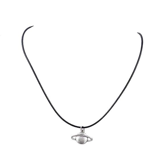 1223fe87ec0d JAKU Nuevo collar retro saturno colgante con cordón de cuero negro y  gargantilla con dijes (