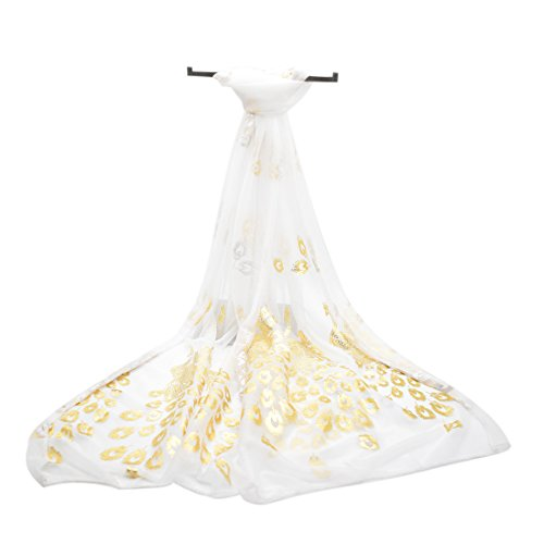 Gold Floral Printed Silk Lightweight Gauze Scarf for Women (White) - White Floral Scarf