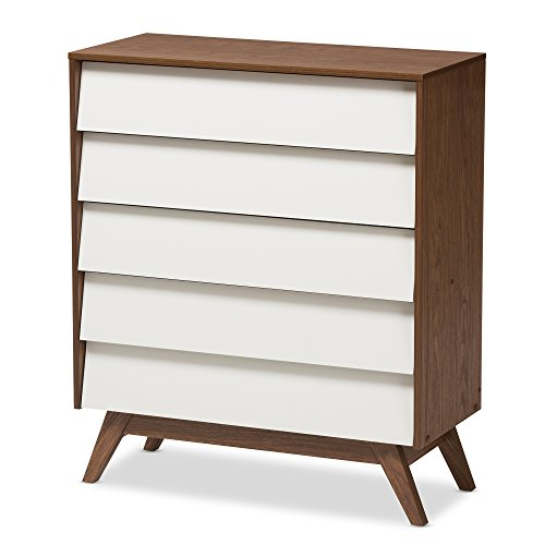 Baxton Studio Herve Mid-Century Modern White & Walnut Wood 5-Drawer Storage Chest, White/Walnut Brown ()