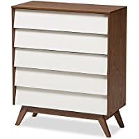 Baxton Studio Herve Mid-Century Modern White & Walnut Wood 5-Drawer Storage Chest, White/Walnut Brown