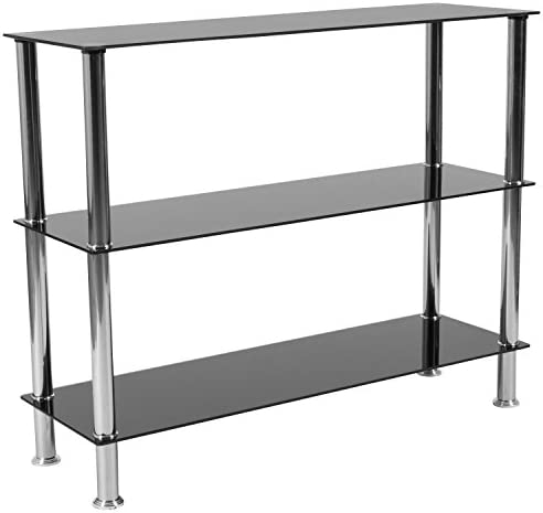 Flash Furniture Riverside Collection 3 Shelf 31.5 H Glass Storage Display Unit Bookcase with Stainless Steel Frame in Black