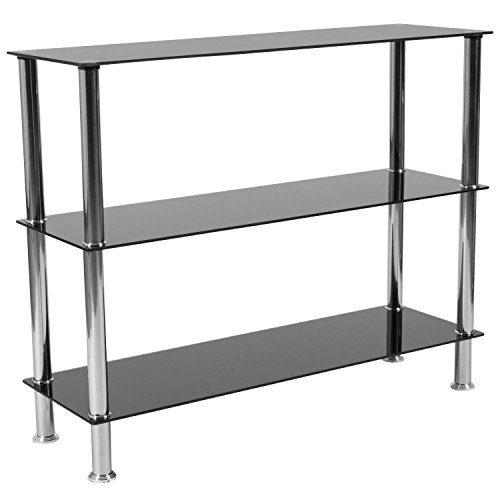 Flash Furniture Riverside Collection Black Glass Storage Shelves with Stainless Steel - Bookcase Glass Steel