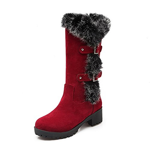 Women's On Frosted Solid AmoonyFashion Red Heels Pull Closed Boots Kitten Toe Round p8d6d1Bq