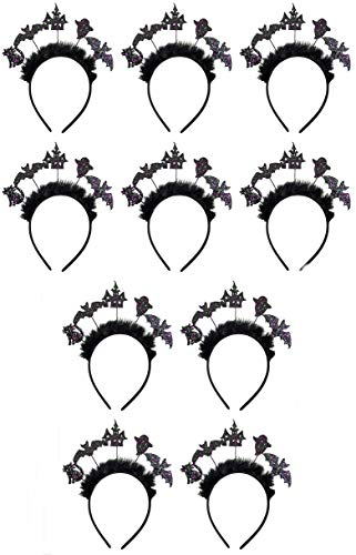 Bulk Halloween Glitter Headband with Black Feather Crown, Pack of 10