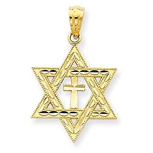 14k Yellow Gold Diamond-Cut Star Of David With Cross Pendant - Measures 16x16mm - JewelryWeb