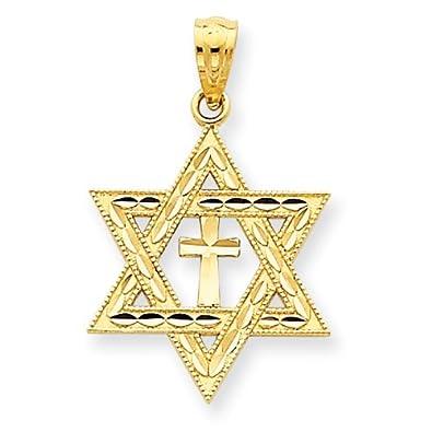 Amazon 14k yellow gold diamond cut star of david with cross 14k yellow gold diamond cut star of david with cross pendant measures 16x16mm aloadofball Choice Image