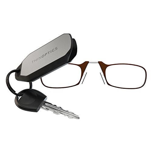 ThinOPTICS Keychain Reading Glasses, Brown Frame, 2.00 Strength