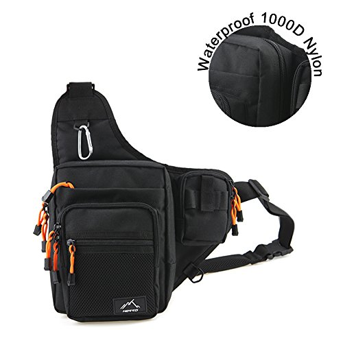 HETTO Black Fishing Sling Bags Fly Fishing Waist Bag Fishing Tackle Bag Fishing Lure Bag Waterproof 1000D Nylon Chest Pack Shoulder Bag for Outdoor
