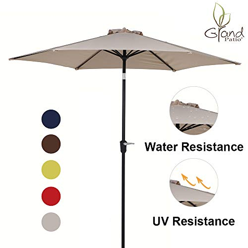 - Grand Patio 9 FT Aluminum Patio Umbrella, UV Protected Outdoor Umbrella with Push Button Tilt and Crank, Champagne