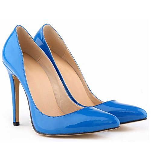 Nonbrand Women's Slim Heel Synthetic Court Shoes Blue J6GKu