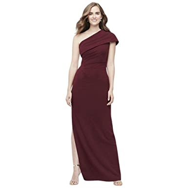 68d45f5936132 David's Bridal Ruched One-Shoulder Stretch Crepe Bridesmaid Dress Style  AP2E205030, Cabernet, ...
