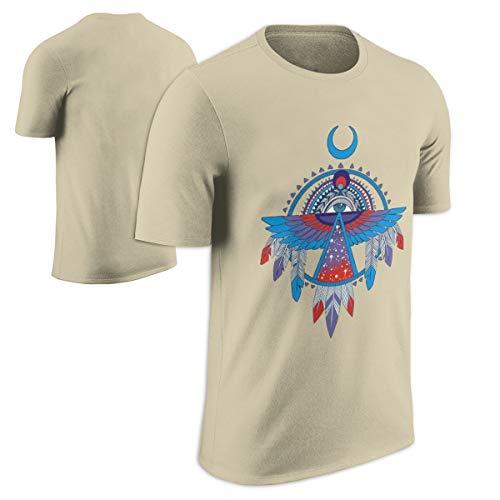 (CAROYA 100% Cotton Fashion Men/Women Casual T-Shirt Native American Thunderbird Pattern Printed Tops Tees Plus Size)