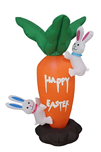 4 Foot Tall Easter Inflatable Party Carrot with Cute Bunnies Bunny - Yard Blow Up Decoration (Cute Halloween Yard Decoration Ideas)