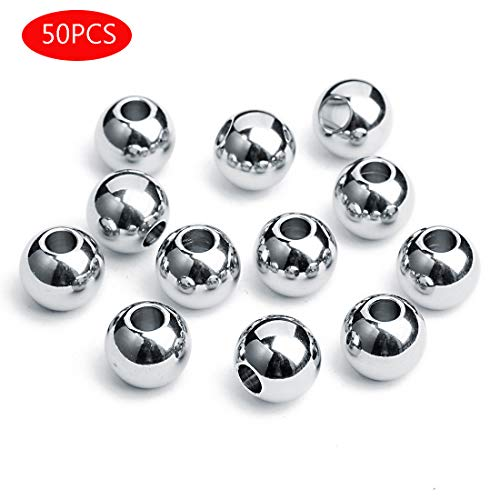 Forise 50pcs Silver Oval Stainless Steel Spacer Beads Metal Big Hole Beads for DIY Jewelry Making Finding (Oval-Silver, 310)