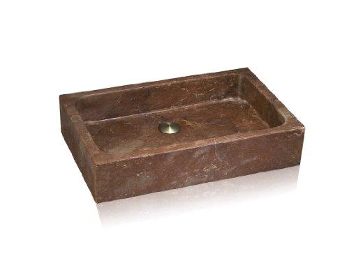 Lenova SAC-03 Stone Above Counter Rectangular Bowl Sink, Travertine, 24 x 16-Inch