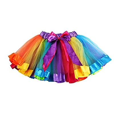 FreshZone Little Big Girls Rainbow Bowknot Skirt Tutu Dress Dancewear (M, Multicolor)