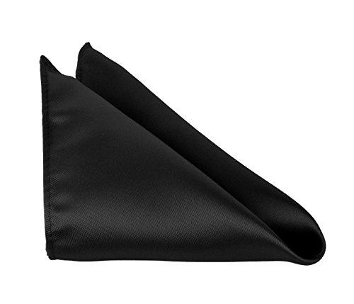 Solid Color Black Pocket Square Handkerchief For Men- Polyester Hankerchiefs by Moda Di Raza - - Black Solid Square