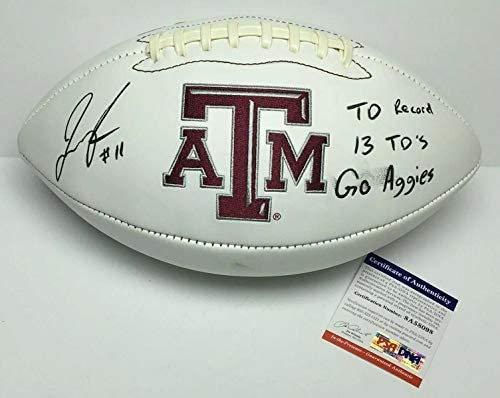 "Josh Reynolds Signed Logo Football""TD Record/13 TD's/Go Aggies"" PSA 8A58098 - Autographed College Footballs"
