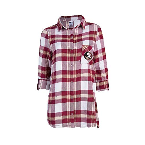 Concept Sport Florida State Seminoles Womens Long Sleeve Team Pride Flannel Button Up - Maroon, Womens Large