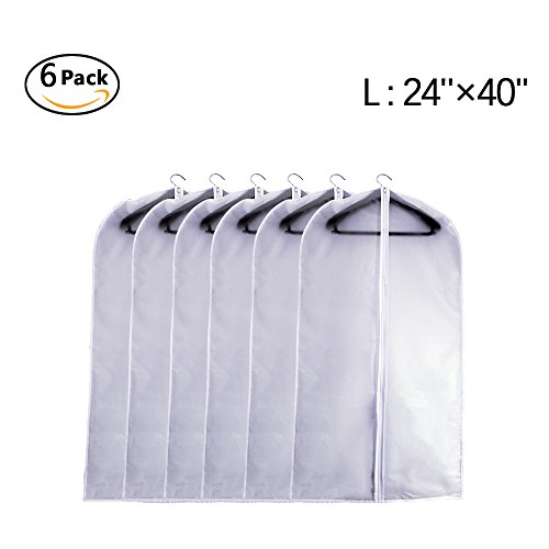 Garment Bag Clear Plastic Breathable Moth Proof Garment Bags Cover for Clothes Storage Suits Dress Dance Zippered Breathable Pack of 6 ( 24''X40'' ) (Storage Plastic Covers)