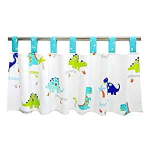 Brandream Baby Boys Window Valance Curtain for Kids/Newborn/Infant Room White and Blue Crib Valance Window Treatment Dinosaur Design Decor