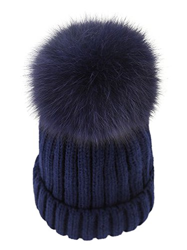LITHER Womens Winter Fur Hat Real Large Fox Fur Pom Pom Beanie Winter Hats(Navy)