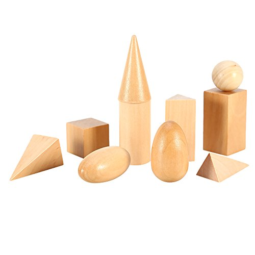 Wooden Mystery Bag Geometric Shapes Solids Geometry Blocks Early Learning & Education Cognitive Math Toys 10pcs/set (Set Wooden Solids Geometric)