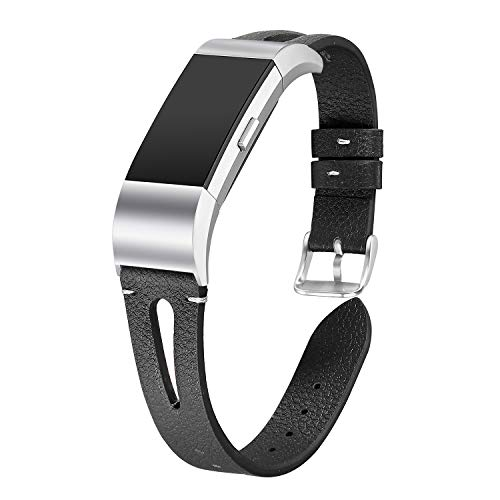 bayite Leather Bands Compatible Fitbit Charge 2, Replacement Genuine Wristband Straps Women Men, Black Small