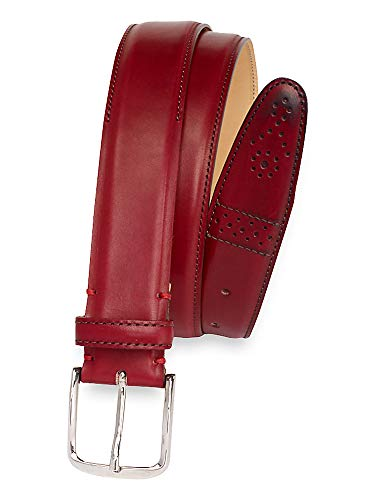 Paul Fredrick Men's Darius Leather Belt Red 36