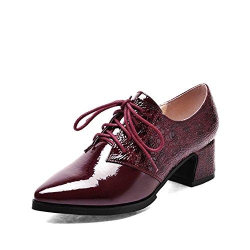 MUYII Zapatos De Tacón Alto De Charol De Mujer Zapatos De Encaje Zapatos De Encaje Brillante Rojo Azul Negro Red