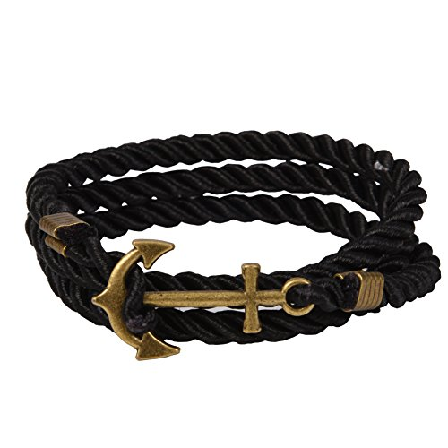 RIVERTREE Vintage Nautical Anchor Charm Multiplayer Rope Twining Weave Nylon Rope Bracelet -Black