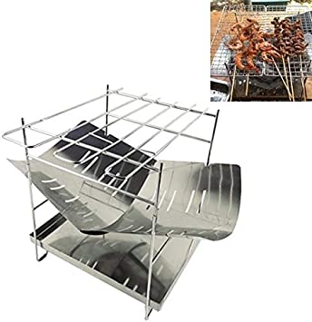 Durable Campo al aire libre portátil placa de plegado de acero inoxidable Barbacoa Parrilla de carbón + Base (plata) (Color : Silver)