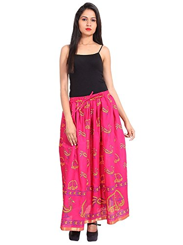 Indian Handicrfats Export Pink Gold Printed Cotton Long Skirt for Women (Free Size) Size: Length- 40 inches