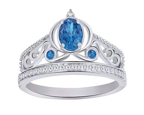 Wishrocks Simulated Blue Topaz & Diamond Accent Cinderella Carriage Ring 14K White Gold Over Sterling Silver (1/10 Cttw)