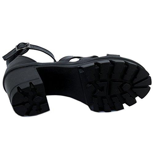 COOLCEPT Women Fashion Ankle Strap Sandals Open Toe Block Heel Platform Shoes Black vnQNv