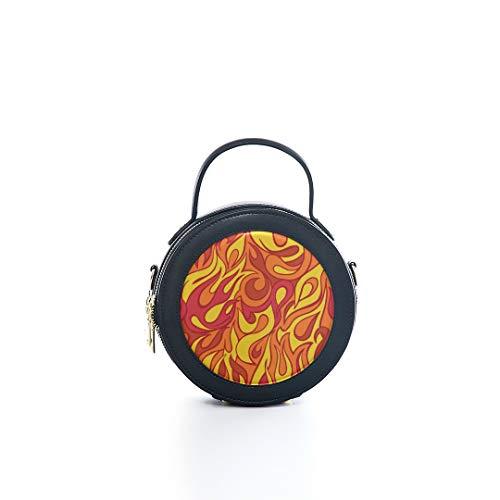 Fashion Microfiber&cowhide Zipper Round Packet Flame Art Creative Design Style Creative Print One Shoulder Cross-body Bags Handbag Small Round Wallet Circle Purse Clutch