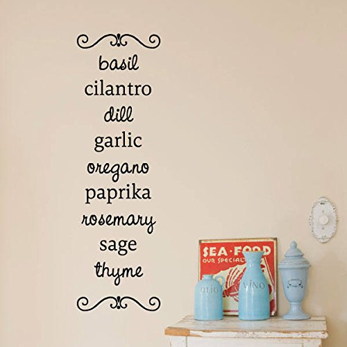 Wall Quote Decal Cook with Herbs Cooking Chef Season Kitchen Wall Art Decor Vinyl Decal